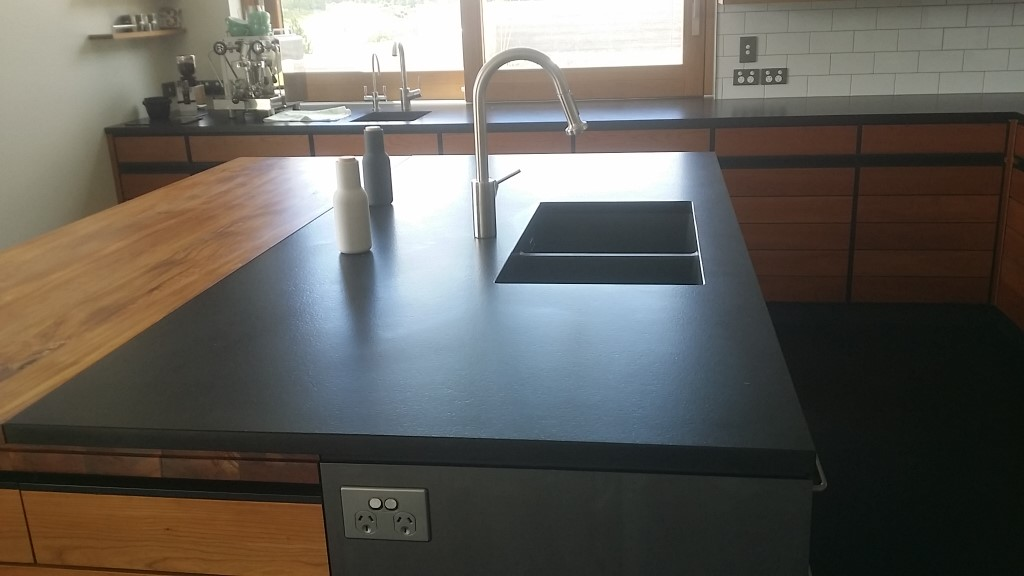 Black granite leather finish